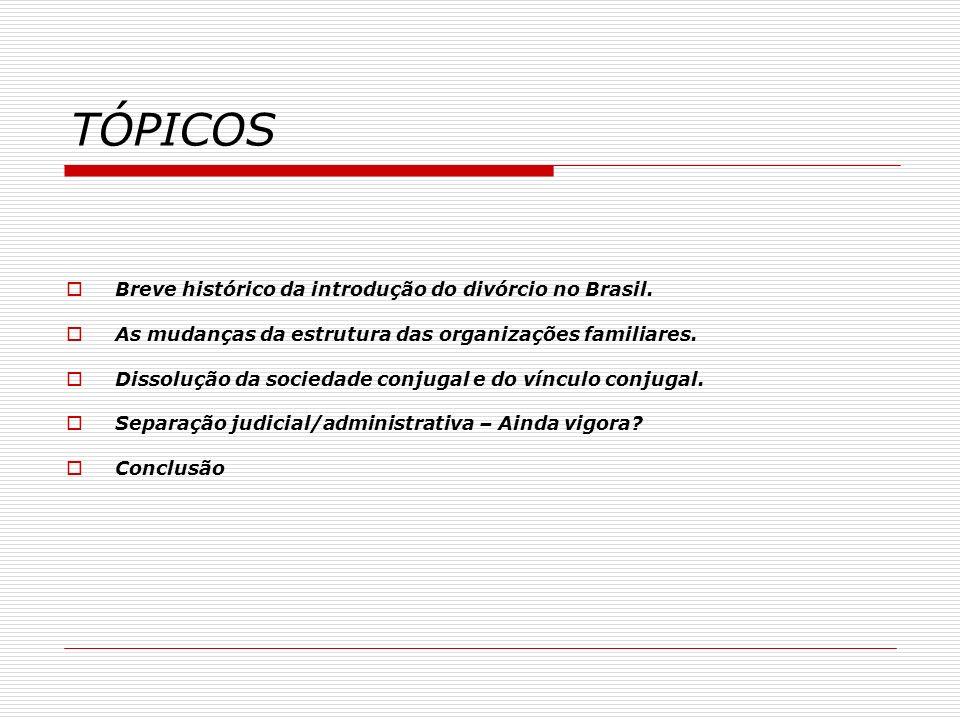 Breve histórico da introdução do divórcio no Brasil 1827 –Edição de decreto que determinava a OBRIGATORIEDADE das disposições do Concílio de Trento e da Constituição do Arcebispado da Bahia, consolidando a jurisdição ECLESIÁSTICA NAS QUESTÕES MATRIMONIAIS – CASAMENTO APENAS PELA IGREJA CATÓLICA – NÃO EXISTIA O CASAMENTO CIVIL - NÃO ERA POSSÍVEL SEPARAR OU DIVORCIAR.