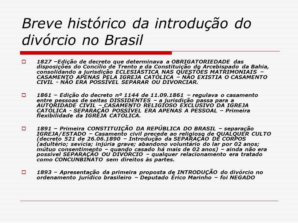 Breve histórico da introdução do divórcio no Brasil 1827 –Edição de decreto que determinava a OBRIGATORIEDADE das disposições do Concílio de Trento e
