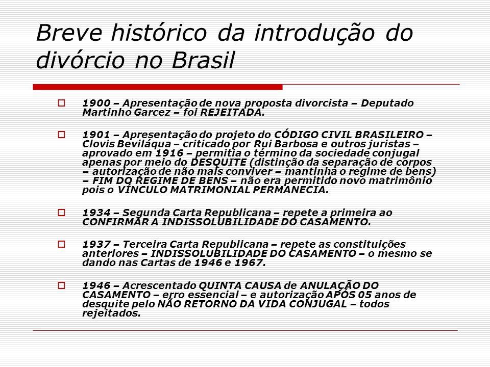 Breve histórico da introdução do divórcio no Brasil 1969 – Emenda constitucional 01/69 – permissão de APRESENTAÇÃO DE PROJETO DE DIVÓRCIO – condicionado a 2/3 dos deputados e senadores.