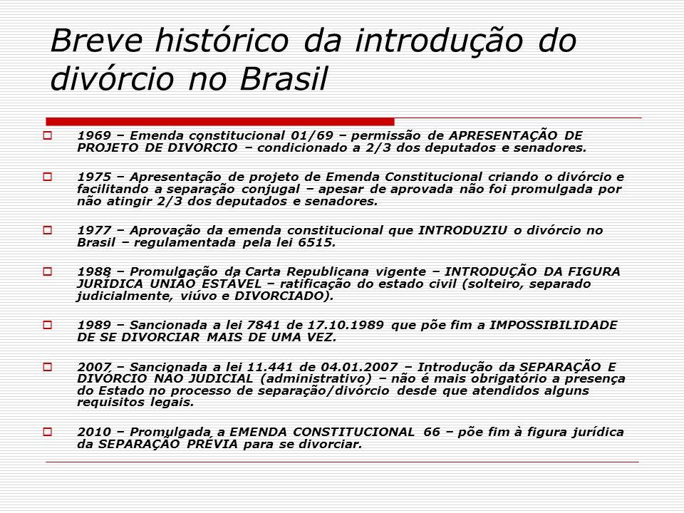 Breve histórico da introdução do divórcio no Brasil 1969 – Emenda constitucional 01/69 – permissão de APRESENTAÇÃO DE PROJETO DE DIVÓRCIO – condiciona