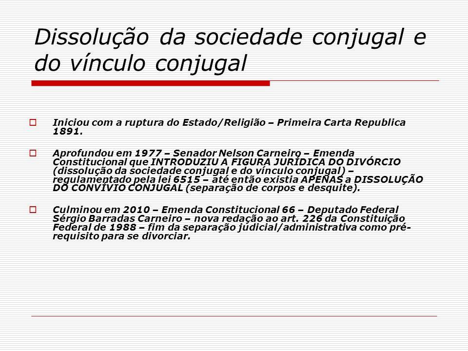 Dissolução da sociedade conjugal e do vínculo conjugal Iniciou com a ruptura do Estado/Religião – Primeira Carta Republica 1891. Aprofundou em 1977 –