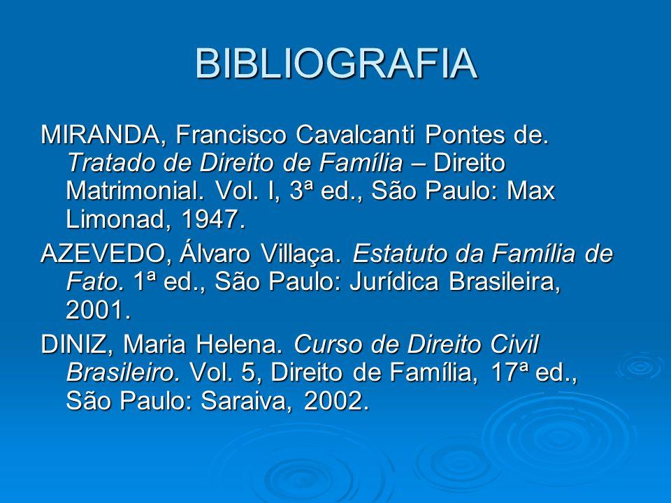 BIBLIOGRAFIA MIRANDA, Francisco Cavalcanti Pontes de. Tratado de Direito de Família – Direito Matrimonial. Vol. I, 3ª ed., São Paulo: Max Limonad, 194