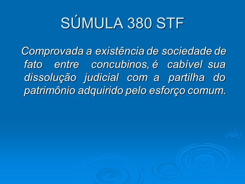 SÚMULA 380 STF Comprovada a existência de sociedade de fato entre concubinos, é cabível sua dissolução judicial com a partilha do patrimônio adquirido