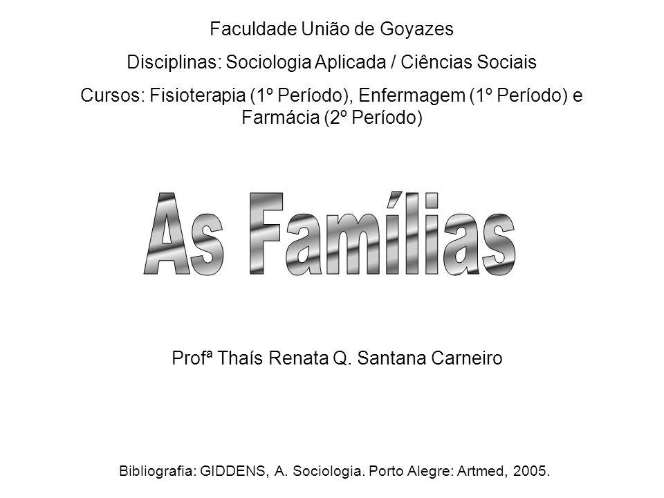 Faculdade União de Goyazes Disciplinas: Sociologia Aplicada / Ciências Sociais Cursos: Fisioterapia (1º Período), Enfermagem (1º Período) e Farmácia (