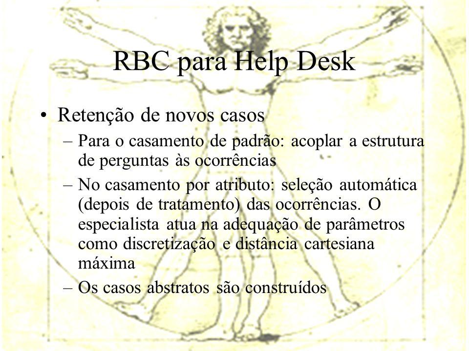 RBC para Help Desk Retenção de novos casos –Para o casamento de padrão: acoplar a estrutura de perguntas às ocorrências –No casamento por atributo: seleção automática (depois de tratamento) das ocorrências.