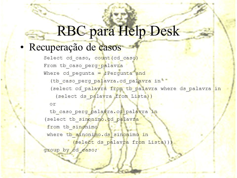 RBC para Help Desk Recuperação de casos Select cd_caso, count(cd_caso) From tb_caso_perg_palavra Where cd_pegunta = :Pergunta and (tb_caso_perg_palavra.cd_palavra in (select cd_palavra from tb_palavra where ds_palavra in (select ds_palavra from Lista)) or tb_caso_perg_palavra.cd_palavra in (select tb_sinonimo.cd_palavra from tb_sinonimo where tb_sinonimo.ds_sinonimo in (select ds_palavra from Lista))) group by cd_caso;