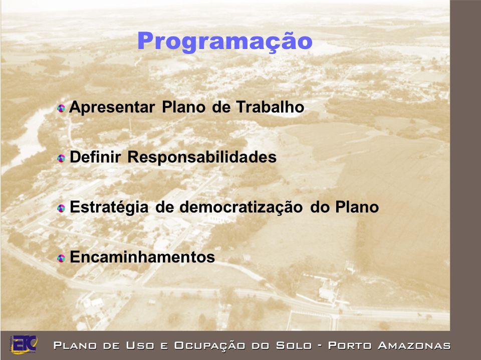 Programação Apresentar Plano de Trabalho Definir Responsabilidades Estratégia de democratização do Plano Encaminhamentos