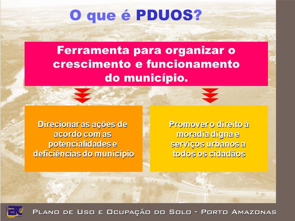 Ferramenta para organizar o crescimento e funcionamento do município.