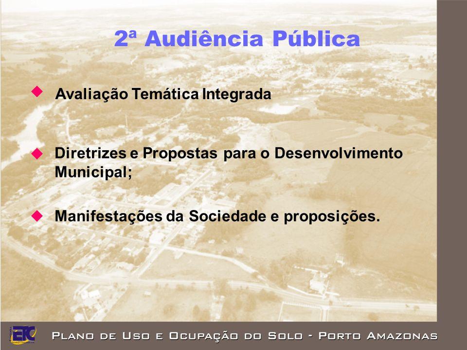 2ª Audiência Pública Avaliação Temática Integrada Diretrizes e Propostas para o Desenvolvimento Municipal; Manifestações da Sociedade e proposições.