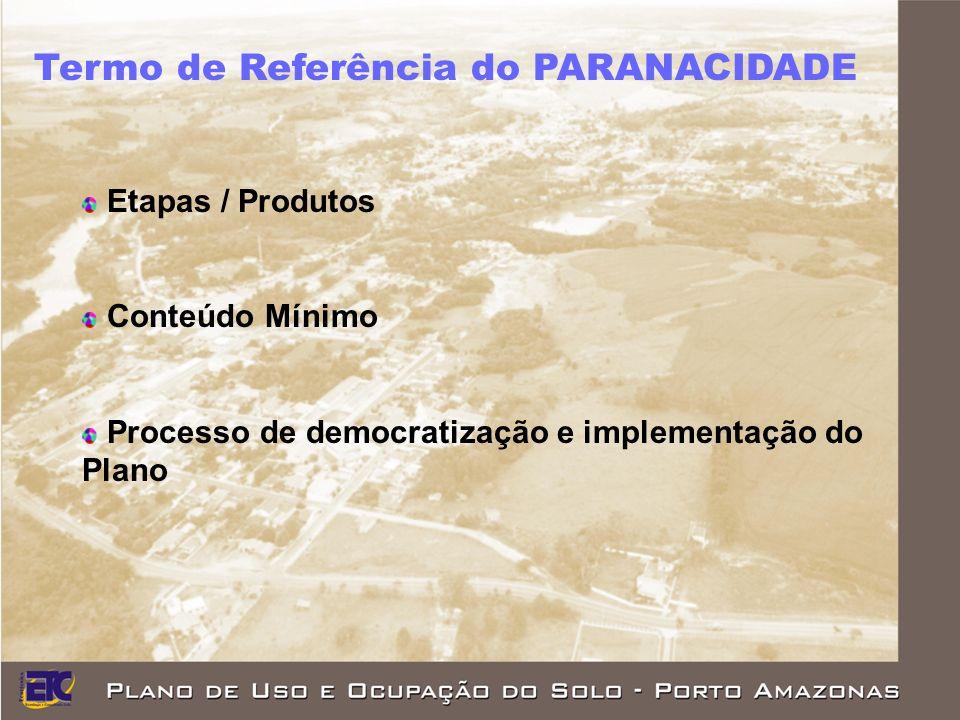 Termo de Referência do PARANACIDADE Etapas / Produtos Conteúdo Mínimo Processo de democratização e implementação do Plano