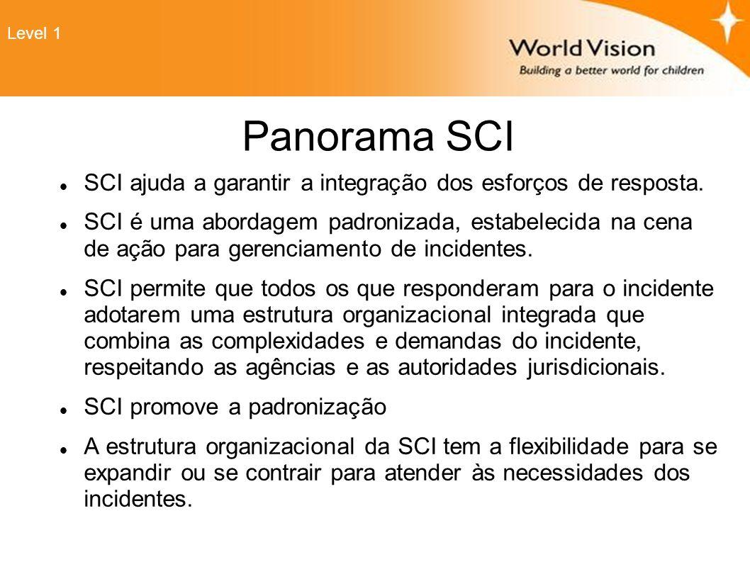 Panorama SCI SCI ajuda a garantir a integração dos esforços de resposta. SCI é uma abordagem padronizada, estabelecida na cena de ação para gerenciame