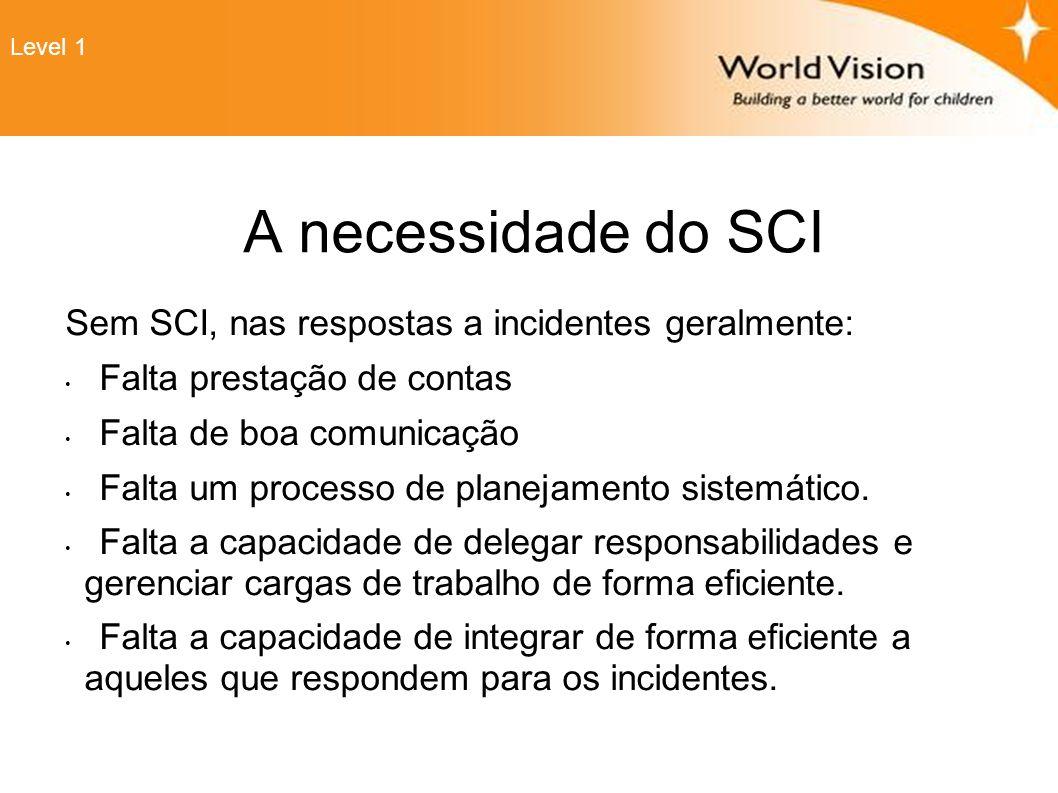 Organização do SCI Comando de Incidentes Setor de Operações Setor de PlanejamentoSetor de LogísticaSetor Fin/Admin Lembre-se: No inicio, o Comando de incidentes apenas estabelece as secções que são necessárias e gerencia aqueles que não possuem uma equipe.