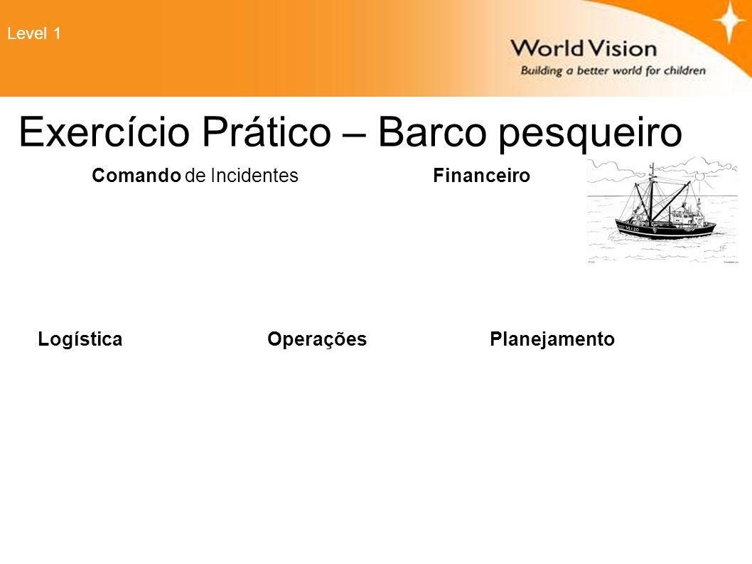 Exercício Prático – Barco pesqueiro Comando de Incidentes Financeiro Planejamento OperaçõesLogística Level 1