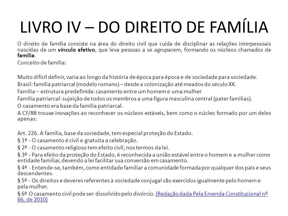 LIVRO IV – DO DIREITO DE FAMÍLIA O direito de família consiste na área do direito civil que cuida de disciplinar as relações interpessoais nascidas de