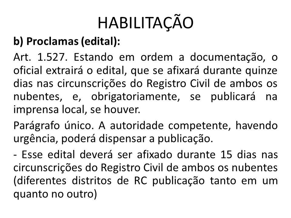 HABILITAÇÃO b) Proclamas (edital): Art. 1.527. Estando em ordem a documentação, o oficial extrairá o edital, que se afixará durante quinze dias nas ci