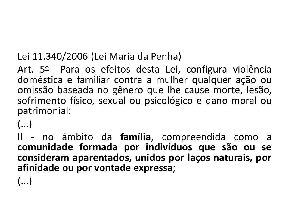 Lei 11.340/2006 (Lei Maria da Penha) Art. 5 o Para os efeitos desta Lei, configura violência doméstica e familiar contra a mulher qualquer ação ou omi