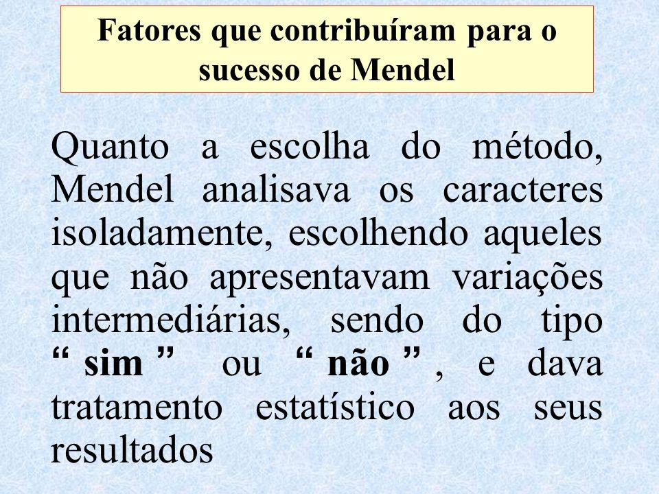 Fatores que contribuíram para o sucesso de Mendel Quanto a escolha do método, Mendel analisava os caracteres isoladamente, escolhendo aqueles que não apresentavam variações intermediárias, sendo do tipo sim ou não, e dava tratamento estatístico aos seus resultados