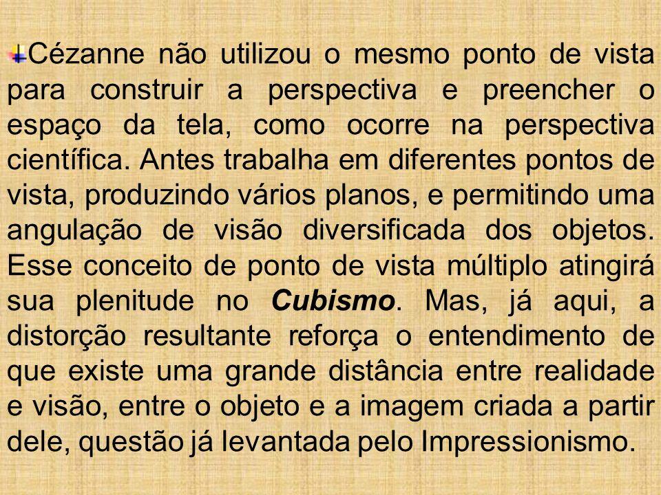 Cézanne não utilizou o mesmo ponto de vista para construir a perspectiva e preencher o espaço da tela, como ocorre na perspectiva científica. Antes tr