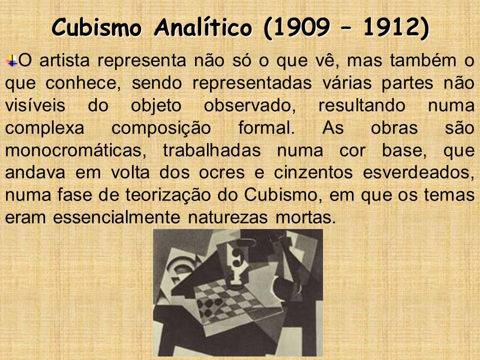 Cubismo Analítico (1909 – 1912) O artista representa não só o que vê, mas também o que conhece, sendo representadas várias partes não visíveis do obje