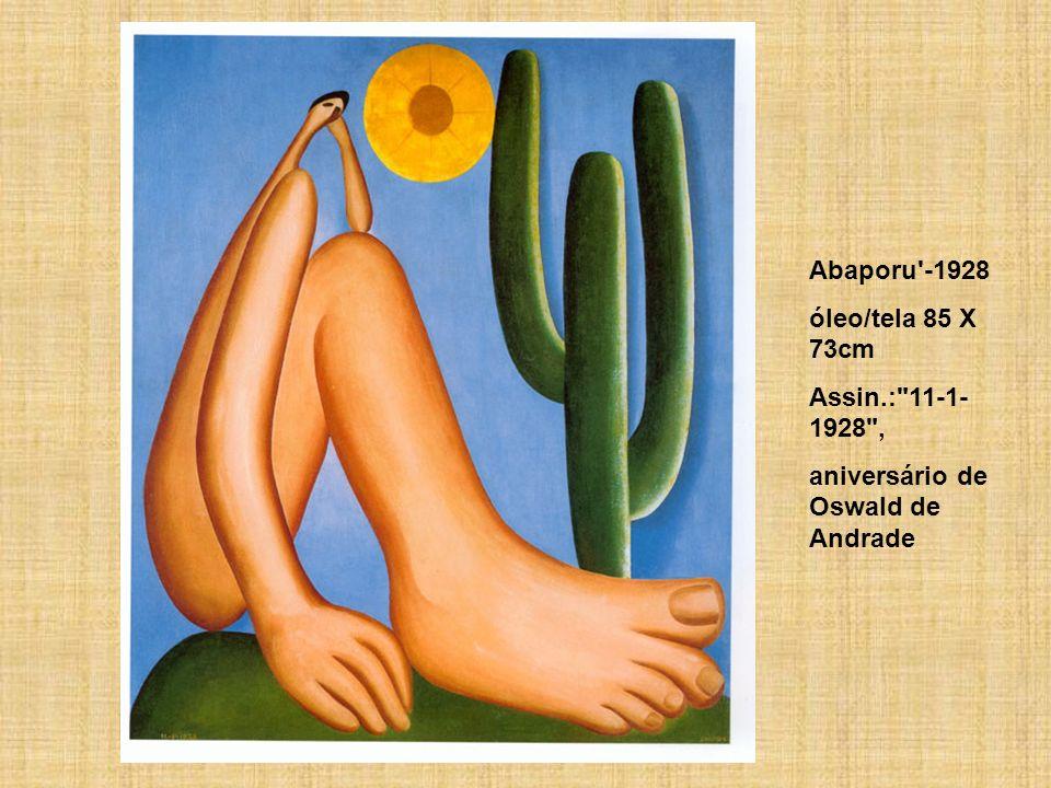 Abaporu -1928 óleo/tela 85 X 73cm Assin.: 11-1- 1928 , aniversário de Oswald de Andrade