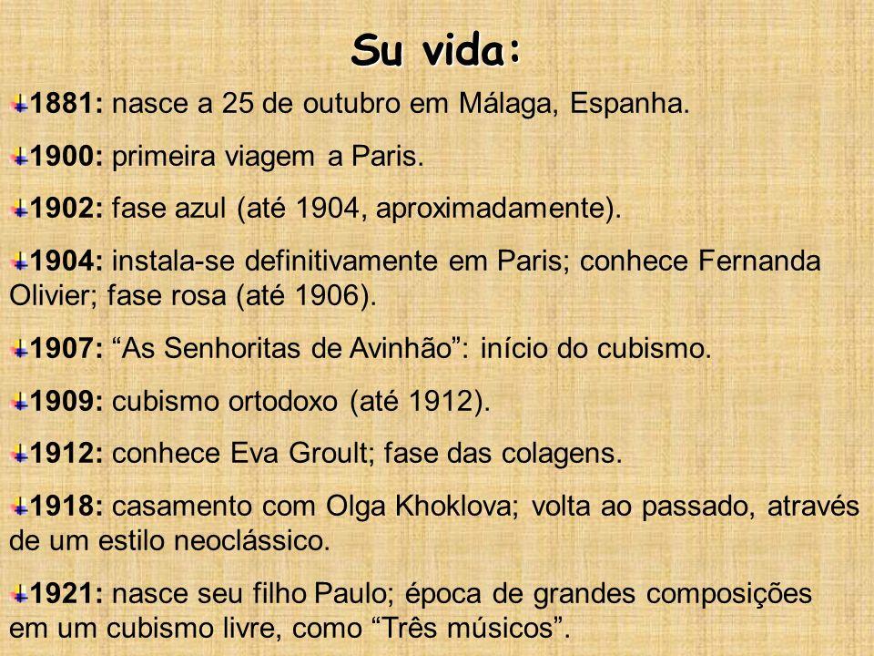 Su vida: 1881: nasce a 25 de outubro em Málaga, Espanha. 1900: primeira viagem a Paris. 1902: fase azul (até 1904, aproximadamente). 1904: instala-se