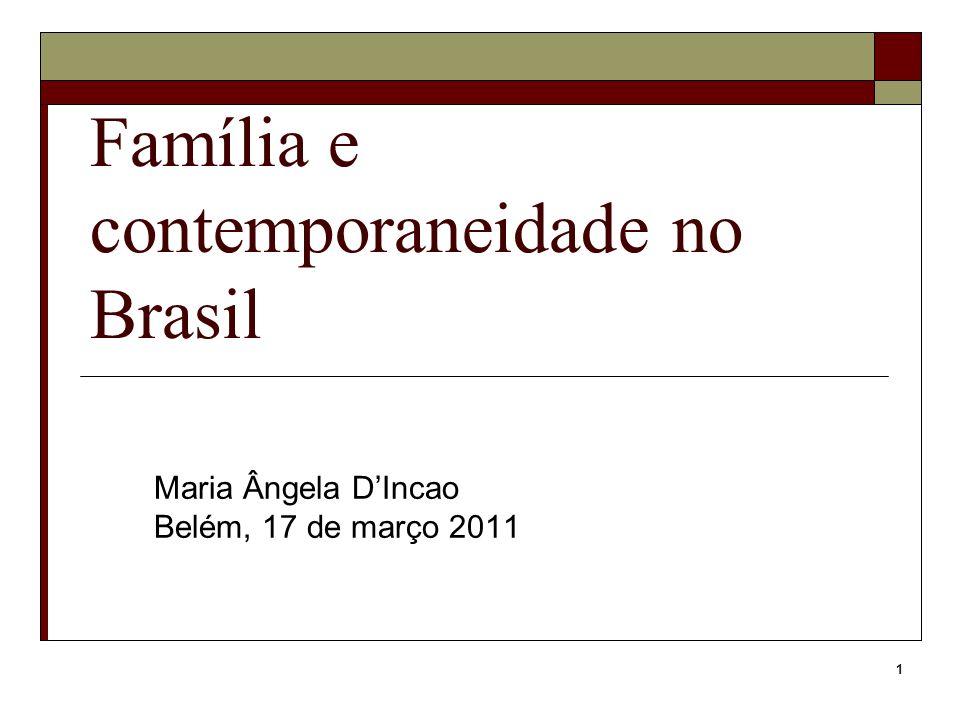 1 Família e contemporaneidade no Brasil Maria Ângela DIncao Belém, 17 de março 2011