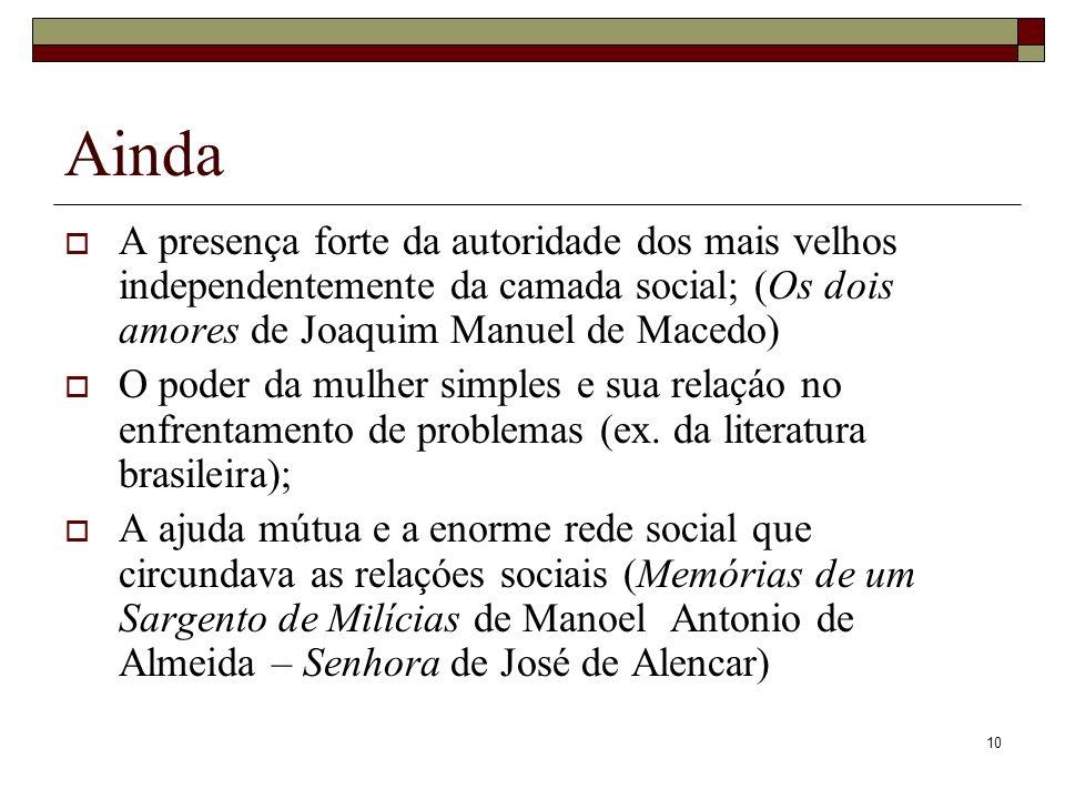 10 Ainda A presença forte da autoridade dos mais velhos independentemente da camada social; (Os dois amores de Joaquim Manuel de Macedo) O poder da mu