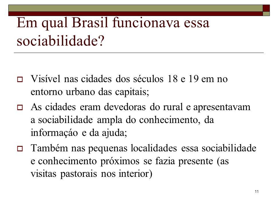 11 Em qual Brasil funcionava essa sociabilidade? Visível nas cidades dos séculos 18 e 19 em no entorno urbano das capitais; As cidades eram devedoras