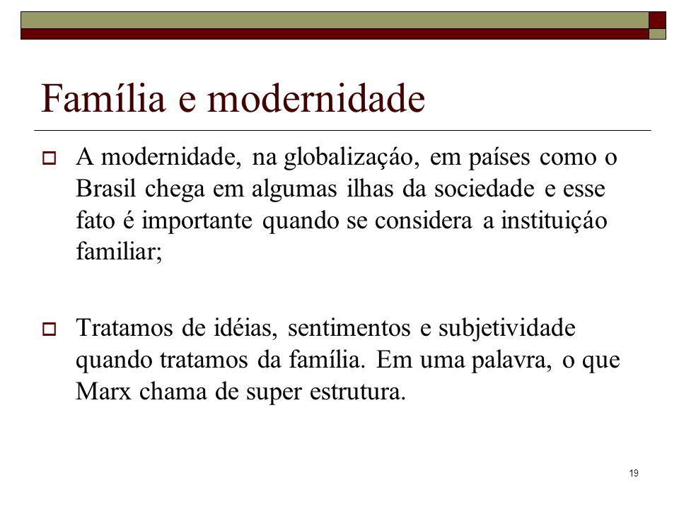 19 Família e modernidade A modernidade, na globalizaçáo, em países como o Brasil chega em algumas ilhas da sociedade e esse fato é importante quando s