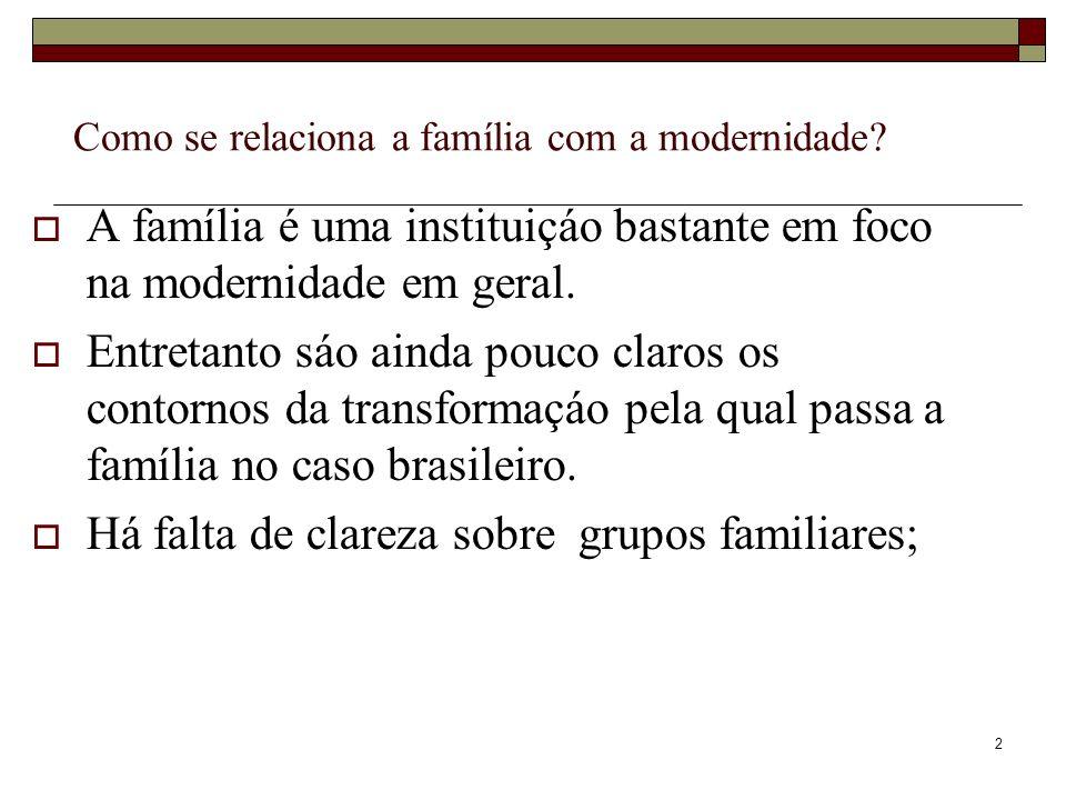 2 Como se relaciona a família com a modernidade? A família é uma instituiçáo bastante em foco na modernidade em geral. Entretanto sáo ainda pouco clar