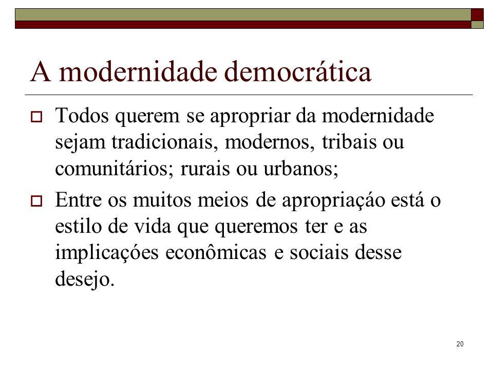 20 A modernidade democrática Todos querem se apropriar da modernidade sejam tradicionais, modernos, tribais ou comunitários; rurais ou urbanos; Entre