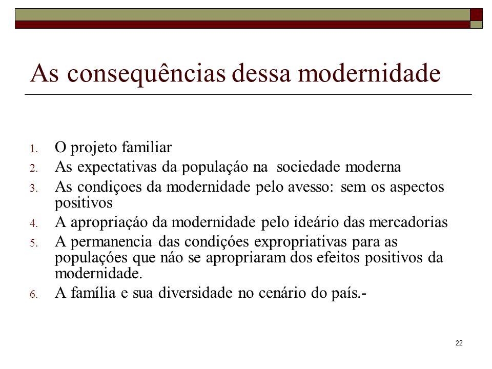 22 As consequências dessa modernidade 1. O projeto familiar 2. As expectativas da populaçáo na sociedade moderna 3. As condiçoes da modernidade pelo a
