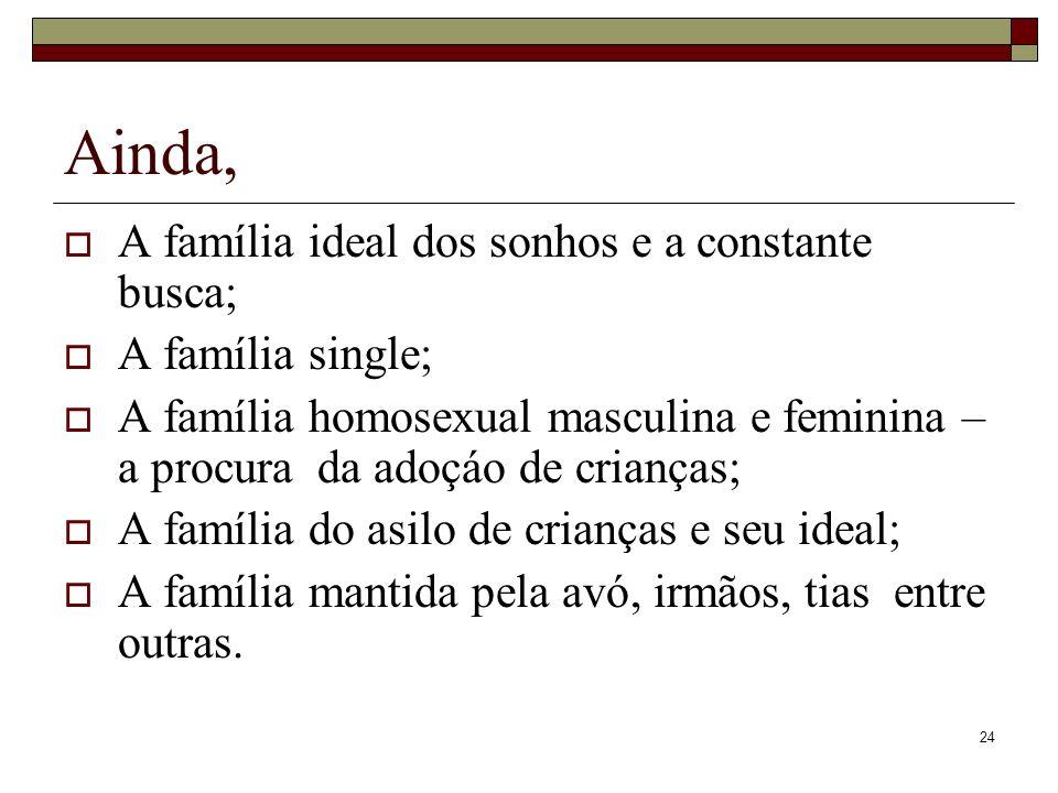 24 Ainda, A família ideal dos sonhos e a constante busca; A família single; A família homosexual masculina e feminina – a procura da adoçáo de criança