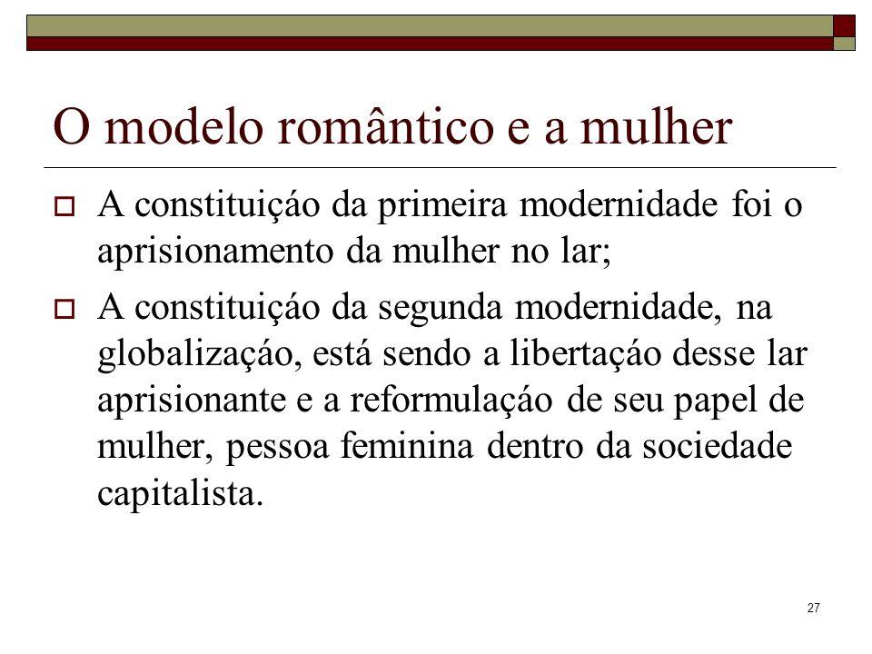 27 O modelo romântico e a mulher A constituiçáo da primeira modernidade foi o aprisionamento da mulher no lar; A constituiçáo da segunda modernidade,