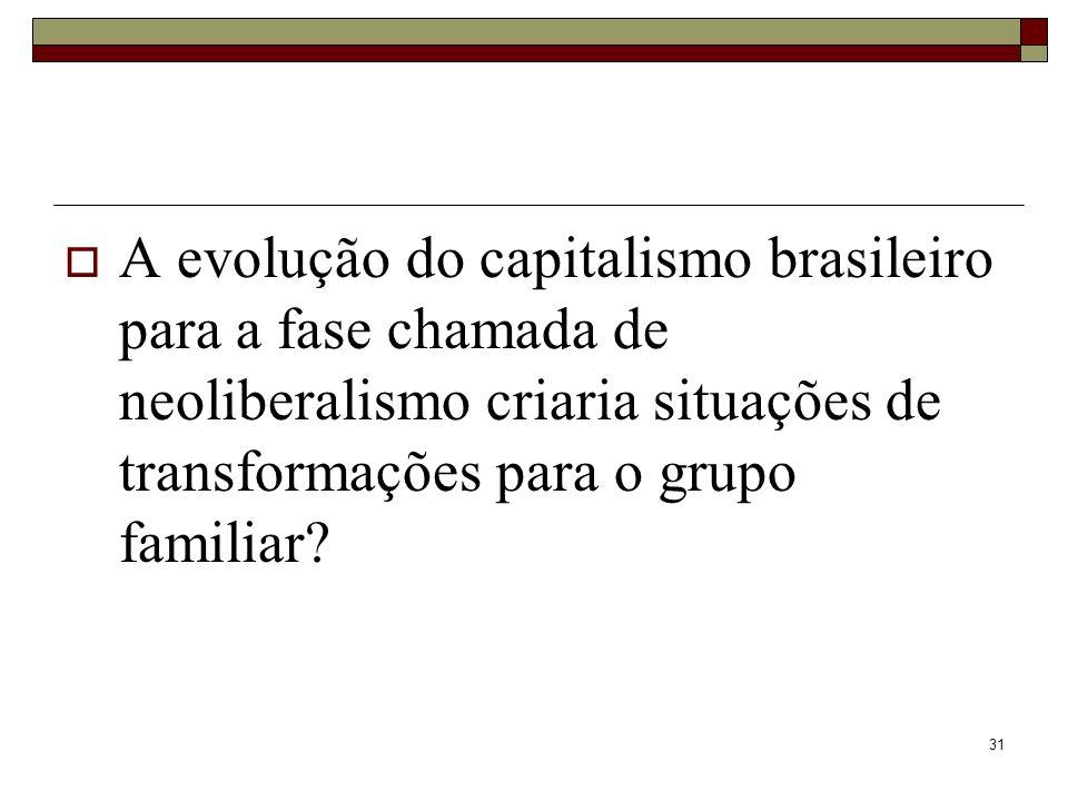 31 A evolução do capitalismo brasileiro para a fase chamada de neoliberalismo criaria situações de transformações para o grupo familiar?