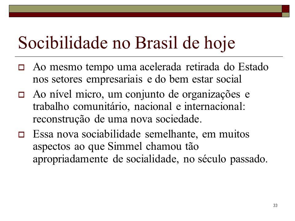 33 Socibilidade no Brasil de hoje Ao mesmo tempo uma acelerada retirada do Estado nos setores empresariais e do bem estar social Ao nível micro, um co
