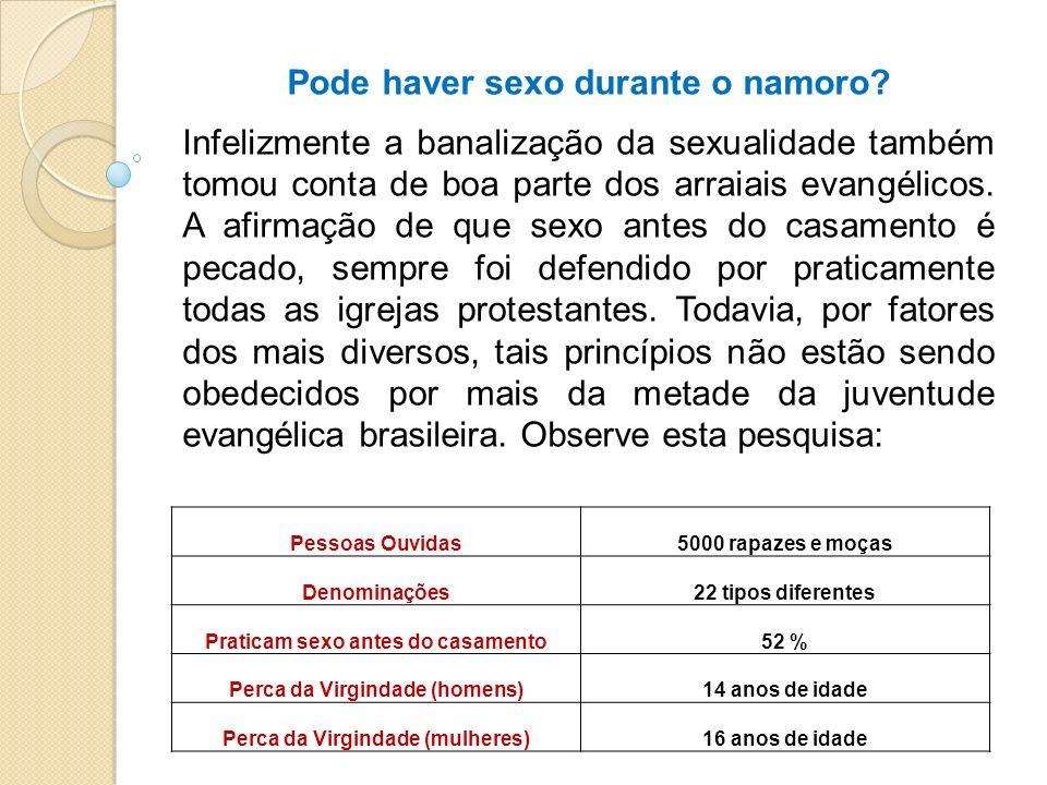 Pessoas Ouvidas5000 rapazes e moças Denominações22 tipos diferentes Praticam sexo antes do casamento52 % Perca da Virgindade (homens)14 anos de idade