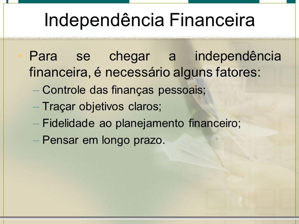 Independência Financeira Para se chegar a independência financeira, é necessário alguns fatores: –Controle das finanças pessoais; –Traçar objetivos cl