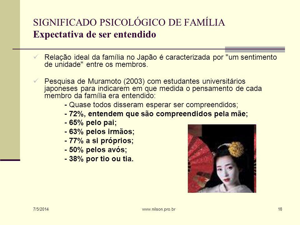 O japonês gosta de manter e melhorar sua auto-estima indiretamente, obtendo apoio dos seus familiares, em vez de uma autovalorização direta (por exemplo, Muramoto, 2003).