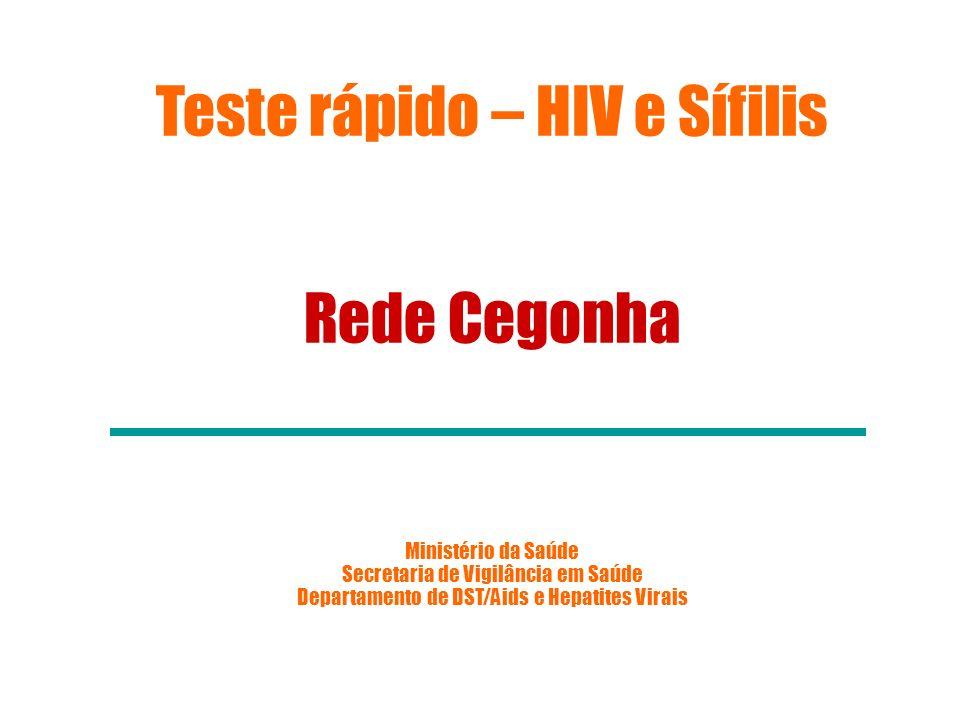 T R NO ÂMBITO DA REDE CEGONHA PORTARIA Nº 77, DE 12 DE JANEIRO DE 2012 Dispõe sobre a realização de testes rápidos, na atenção básica, para a detecção de HIV e sífilis.