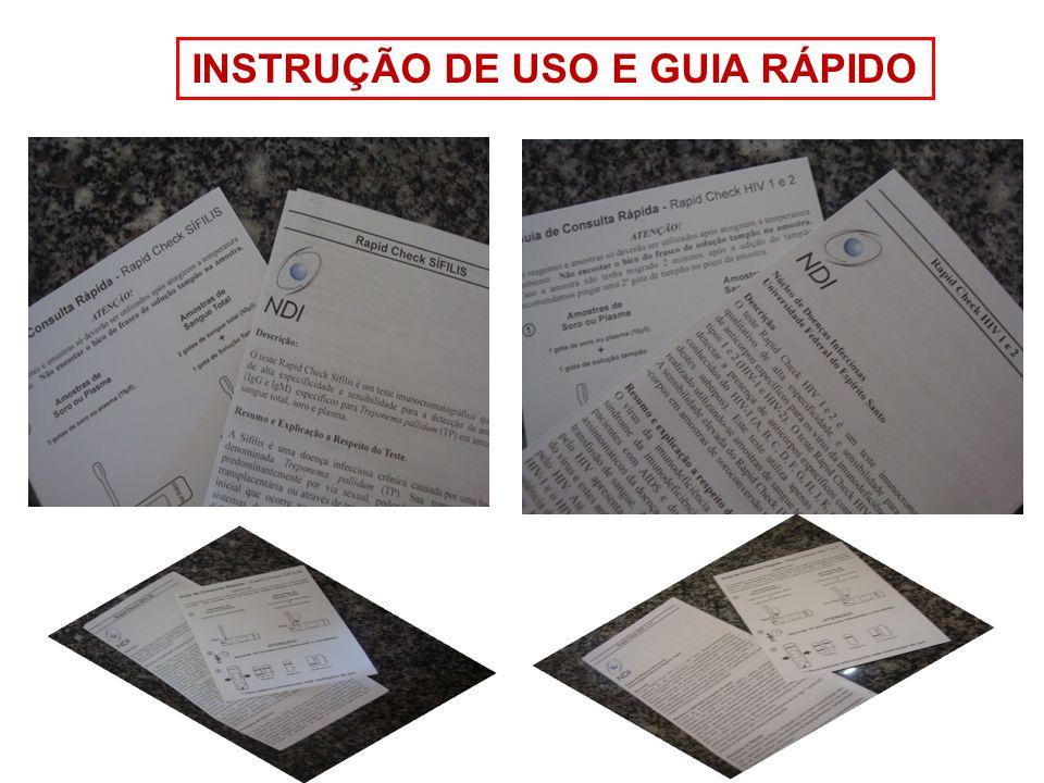 Procedimento para realização do teste BIOSSEGURANÇA EPI Retirar os componentes do kit necessários à execução do ensaio e colocá- los sobre uma superfície plana.