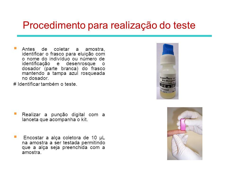 Inserir a alça coletora de 10µL com a amostra no frasco de eluição identificado de modo que toque no fundo do frasco.
