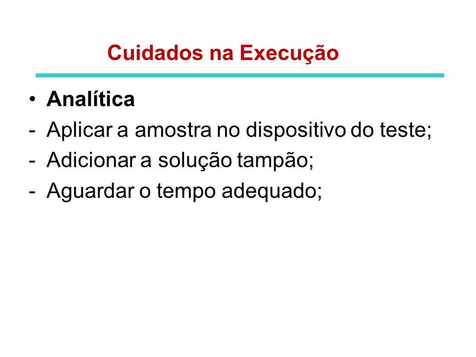Pós-analítica -Interpretação do resultado; -Análise do resultado exposto; -Registro dos resultados; -Emissão do laudo; Cuidados na Execução