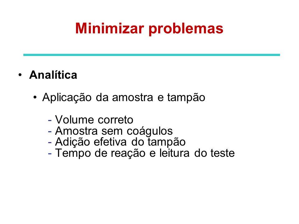 Pós-analítica Interpretação do resultado - Leitura correta dos resultados - Correta transcrição do resultado - Providências necessárias Minimizar problemas