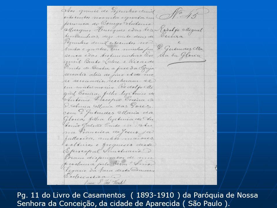 Pg. 11 do Livro de Casamentos ( 1893-1910 ) da Paróquia de Nossa Senhora da Conceição, da cidade de Aparecida ( São Paulo ).