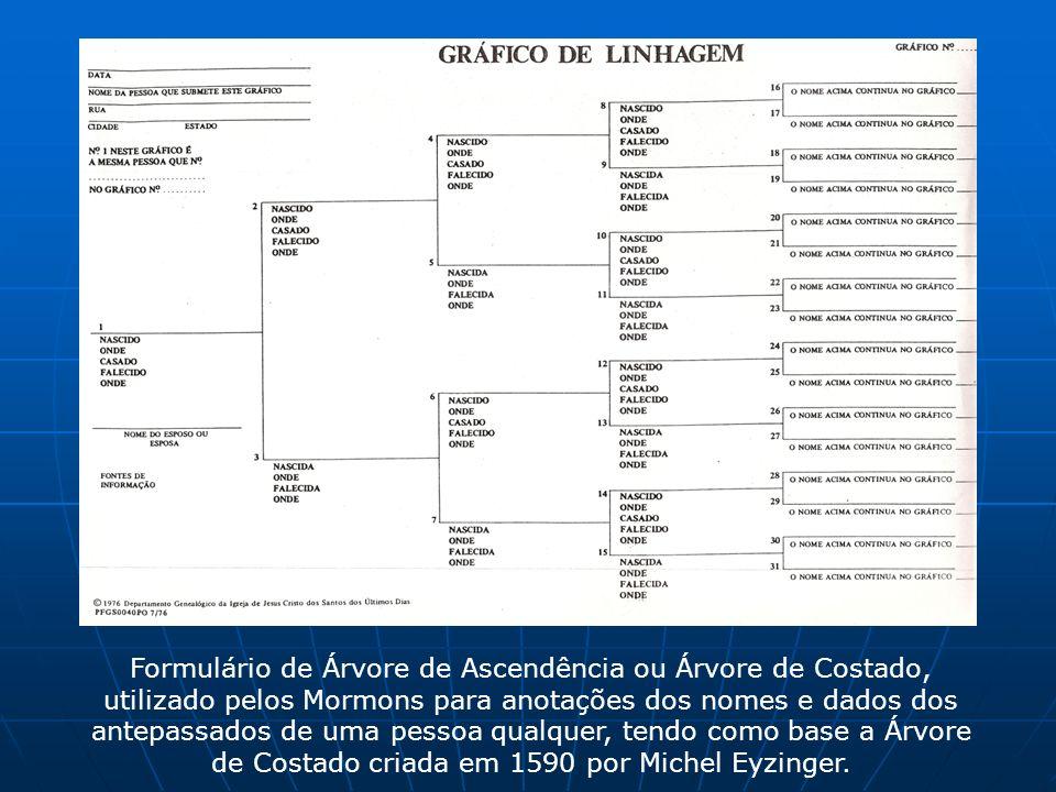 Formulário de Árvore de Ascendência ou Árvore de Costado, utilizado pelos Mormons para anotações dos nomes e dados dos antepassados de uma pessoa qual