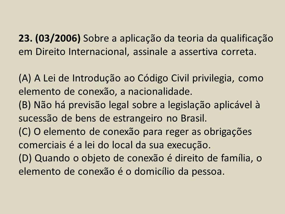23. (03/2006) Sobre a aplicação da teoria da qualificação em Direito Internacional, assinale a assertiva correta. (A) A Lei de Introdução ao Código Ci