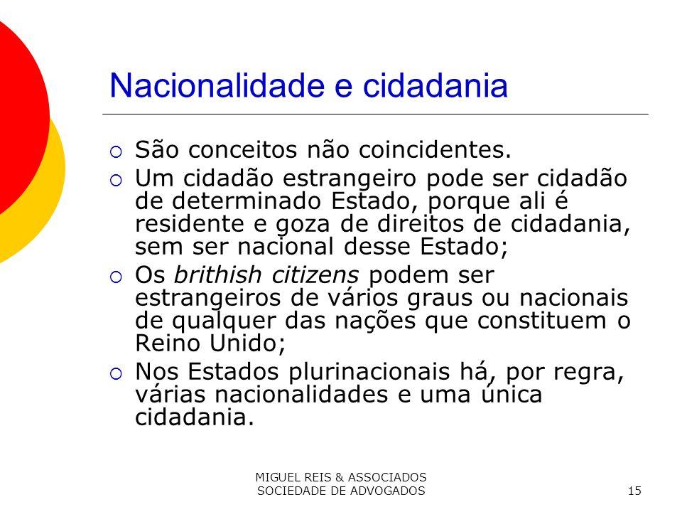 MIGUEL REIS & ASSOCIADOS SOCIEDADE DE ADVOGADOS15 Nacionalidade e cidadania São conceitos não coincidentes.