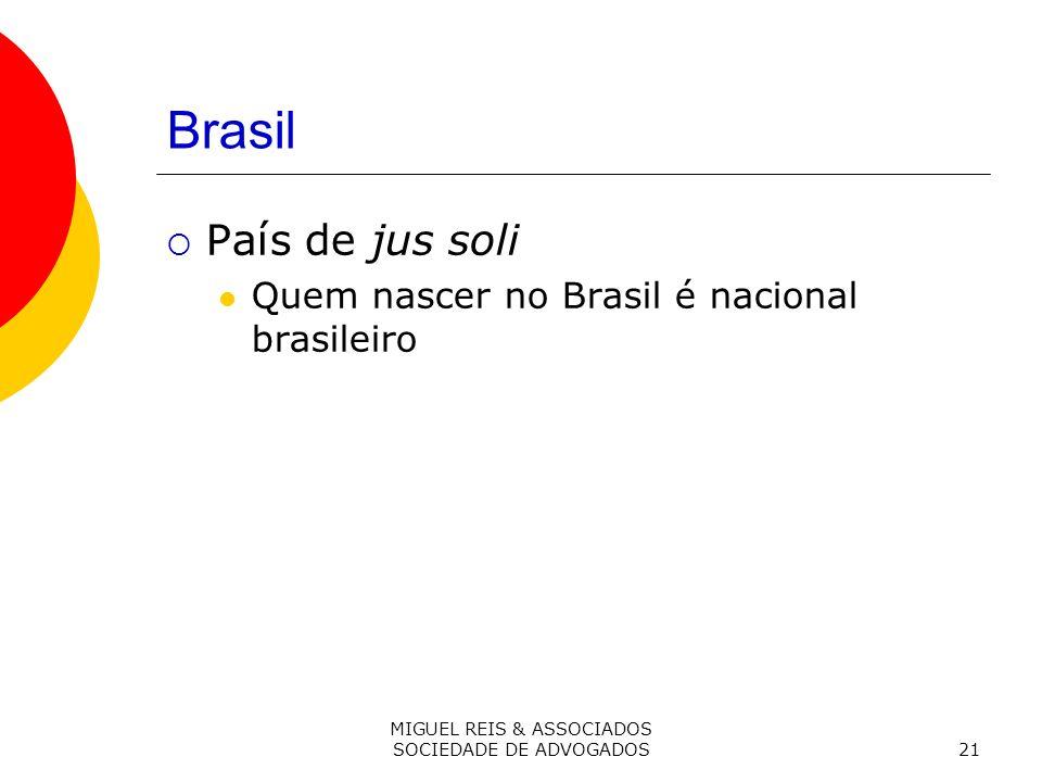 MIGUEL REIS & ASSOCIADOS SOCIEDADE DE ADVOGADOS21 Brasil País de jus soli Quem nascer no Brasil é nacional brasileiro
