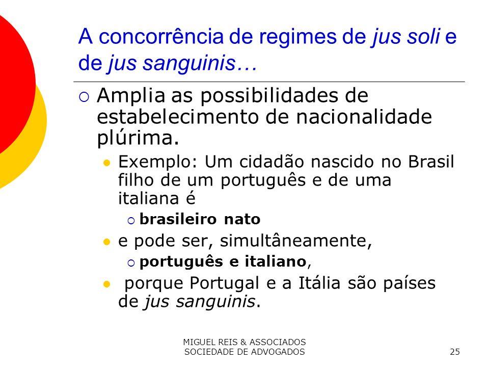 MIGUEL REIS & ASSOCIADOS SOCIEDADE DE ADVOGADOS25 A concorrência de regimes de jus soli e de jus sanguinis… Amplia as possibilidades de estabelecimento de nacionalidade plúrima.